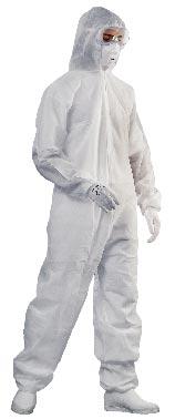 Jednorazový overal s kapucí, bílý XL