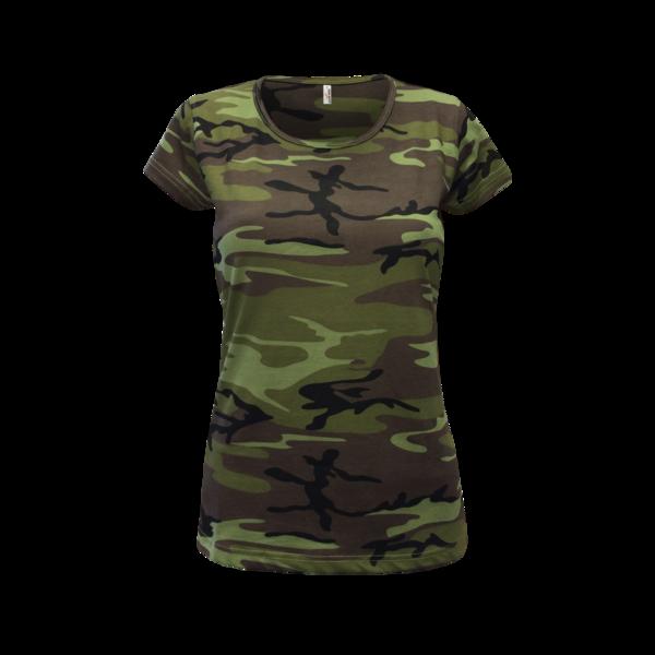 Maskáčové tričko dámské XL camouflage green