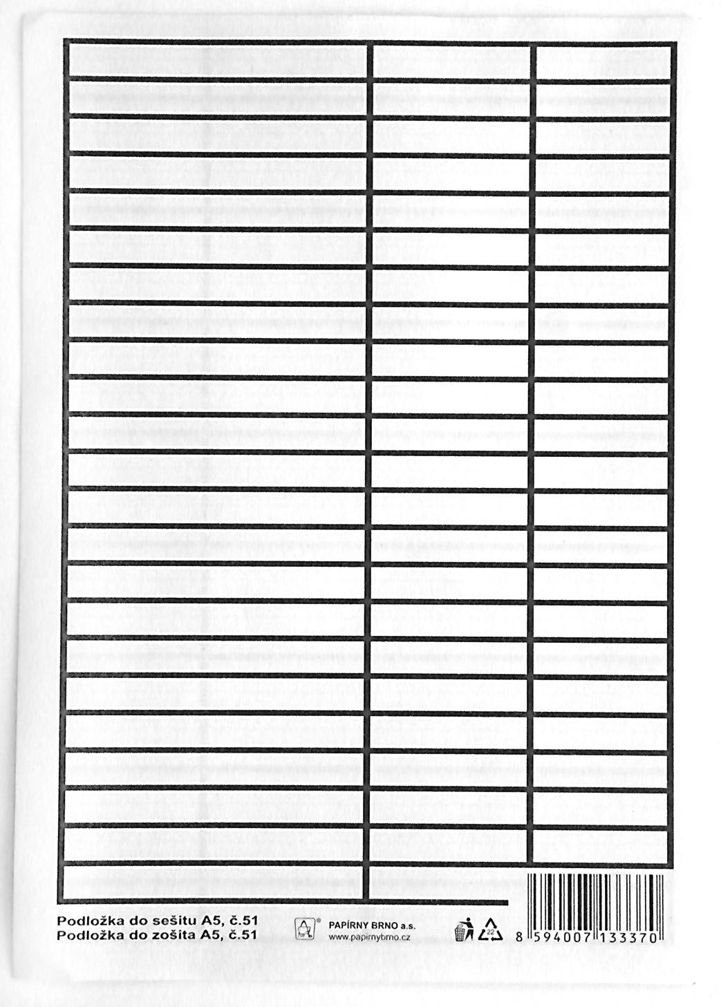 Podložky do sešitů papírové + PVC - podložka A5 / linka - linka / PVC