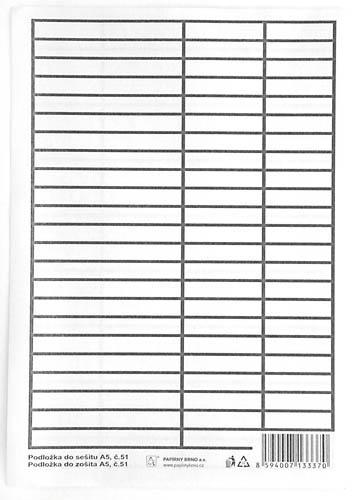 Podložky do sešitů papírové + PVC - podložka A5 / linka - linka / papírová