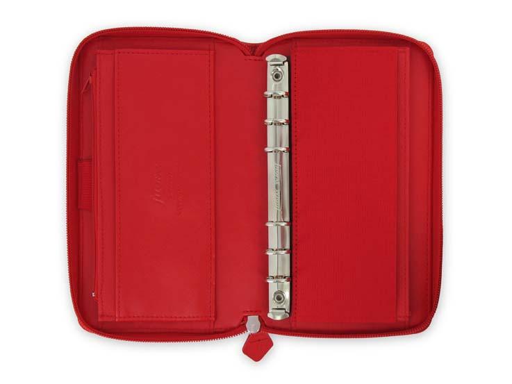Diář Filofax Saffiano - compact / ZIP / červená