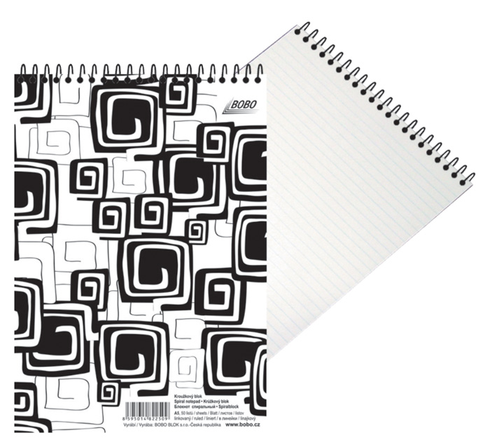 Blok BOBO Black & White se spirálou - A4 / linka / horní spirála