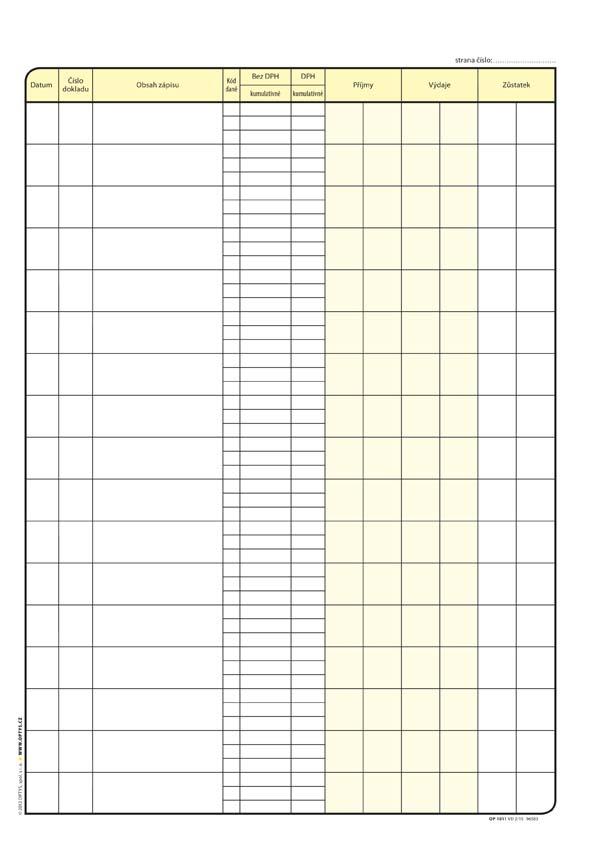 Pokladní kniha Optys - A4 / 48 listů / 1011