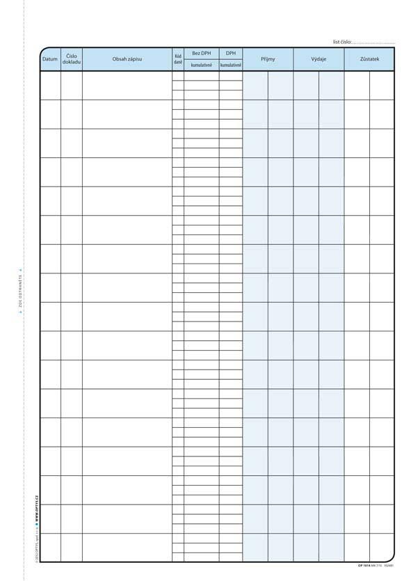 Pokladní kniha Optys - A4 / s DPH 2 x 25 listů NCR / 1014