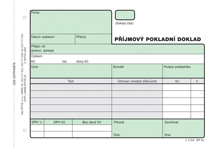 Příjmový pokladní doklad Optys - A6 / nečíslovaný 2 x 50 listů NCR / 1091