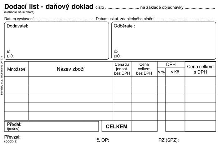 Dodací list daňový doklad - A6 / 50 listů / NCR / PT130