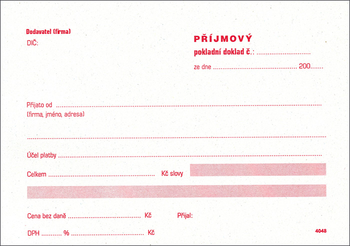 Příjmový pokladní doklad Tipas - A6 / číslovaný 2 x 50 listů NCR / 4047
