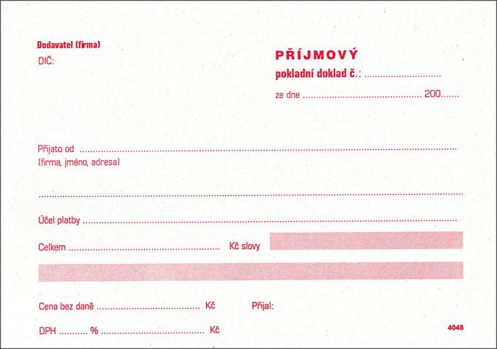 Příjmový pokladní doklad Tipas - A6 / nečíslovaný + stvrzenka 2 x 50 listů NCR / 4053