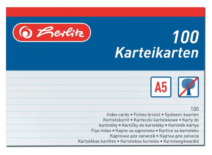 Náhradní karty do kartotéky - karty A5 / 100 ks
