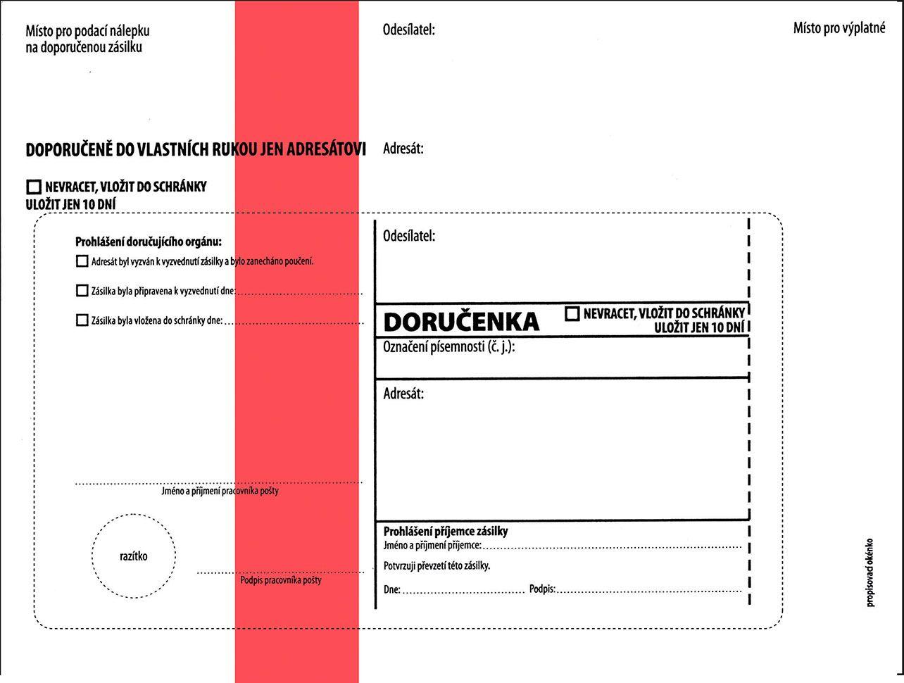 Obálky C5 s doručenkou, vytrhovací okénko - s červeným pruhem / 1000 ks