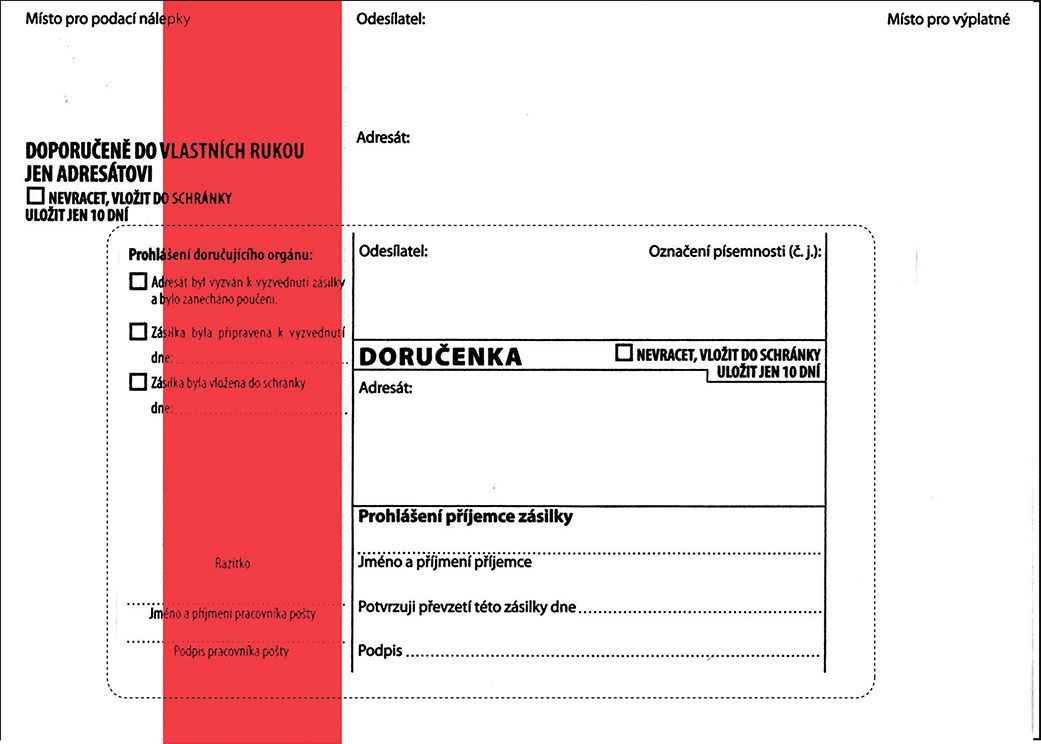 Obálky B6 s doručenkou, vytrhovací okénko - s červeným pruhem / 1000 ks