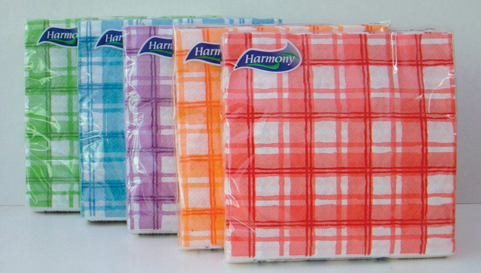 Ubrousky papírové barevné Harmony - 33 x 33 cm / kostka mix / 30 ks