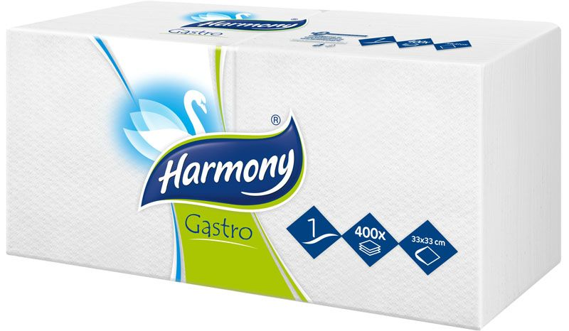 Ubrousky papírové Harmony Gastro - 33 x 33 cm / bílá / 400 ks
