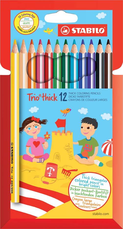 Trojhranné pastelky Stabilo - 12 barev
