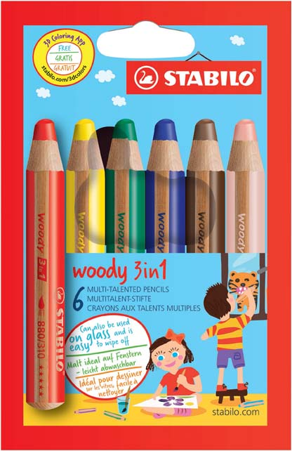 Víceúčelové pastelky STABILO woody 3 v 1 - 6 barev