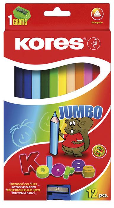 Pastelky trojhranné Kores - jumbo / 12 barev