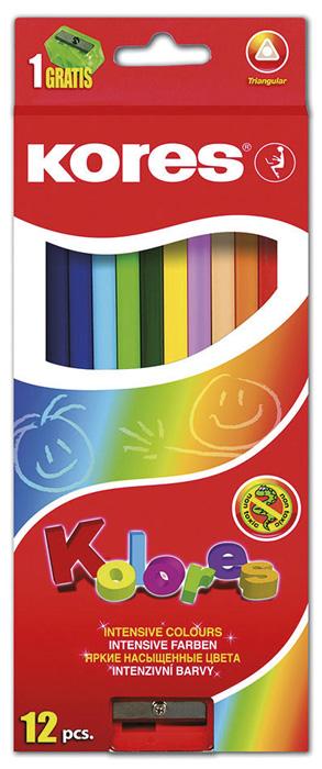 Pastelky trojhranné Kores - 12 barev