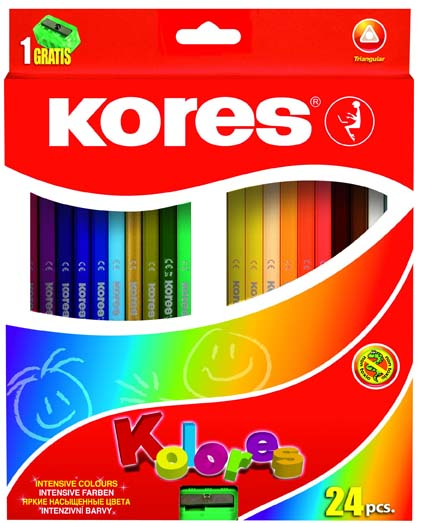 Pastelky trojhranné Kores - 24 barev