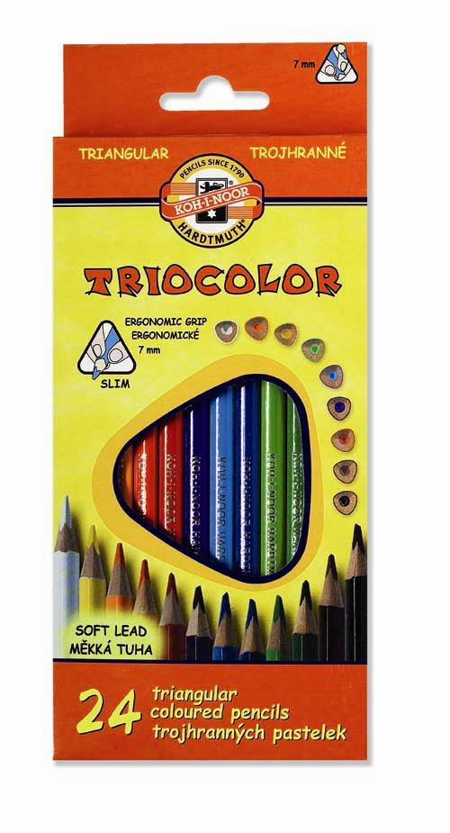 Pastelky Triocolor - 24 barev / lakované / slabé