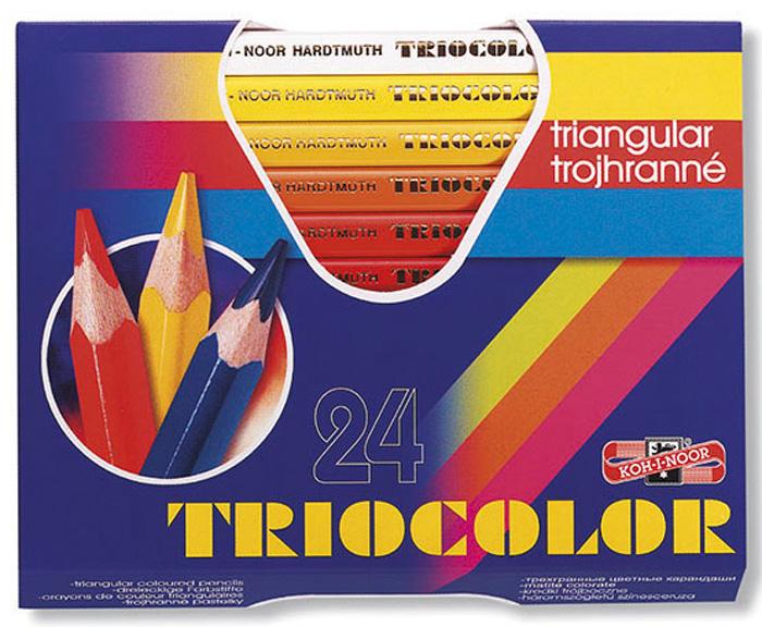 Pastelky Triocolor - 24 barev / lakované / silné