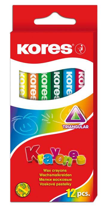 Voskové pastelky trojhranné Kores - 12 barev