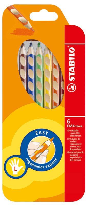 Trojhranné pastelky STABILO EASYcolors - 6 barev / pro leváky