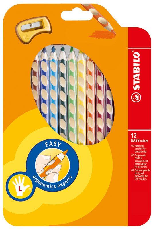 Trojhranné pastelky STABILO EASYcolors - 12 barev / pro leváky