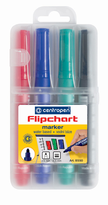 Značkovač Centropen 8550 Flipchart - sada 4 ks