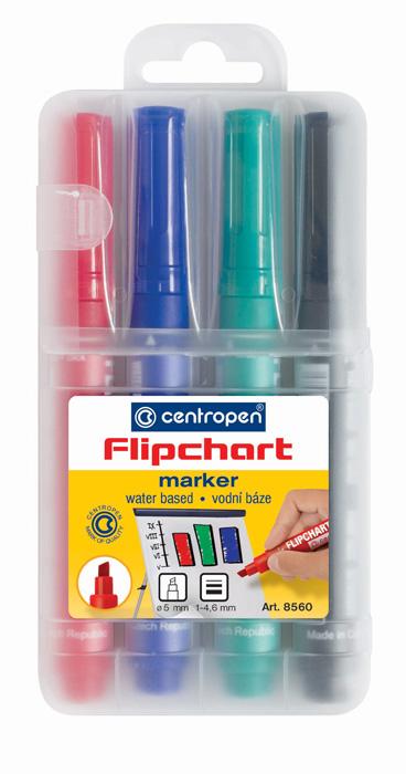 Značkovač Centropen 8560 Flipchart - sada 4 ks