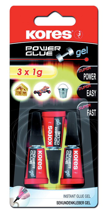 Vteřinová lepidla Kores - Power Glue gel 3 x 1g