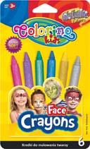 Obličejové barvy Colorino - 6 ks / metalické