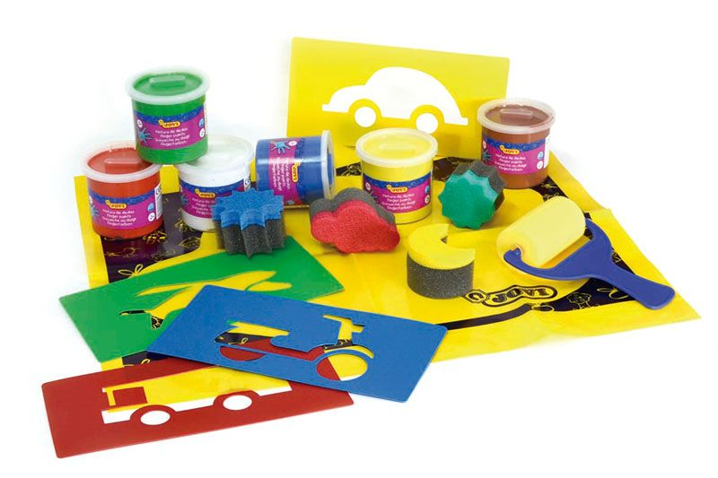 Prstové barvy JOVI BOX - 6 x 125 ml + doplňky