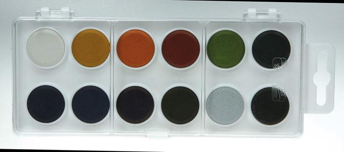 Vodové barvy - 12 barev / průměr 22 mm / ANILINKY