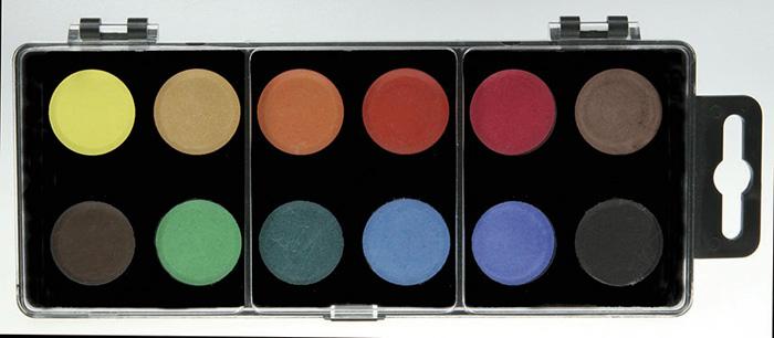 Vodové barvy - 12 barev / průměr 22 ,5 mm