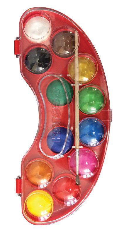 Vodové barvy Kores Akuarellos - 12 barev / průměr 30 mm + štětec