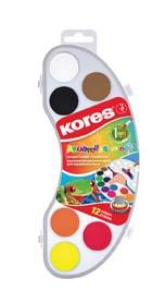 Vodové barvy Kores Akuarellos - MINI / 12 barev / průměr 25 mm + štětec