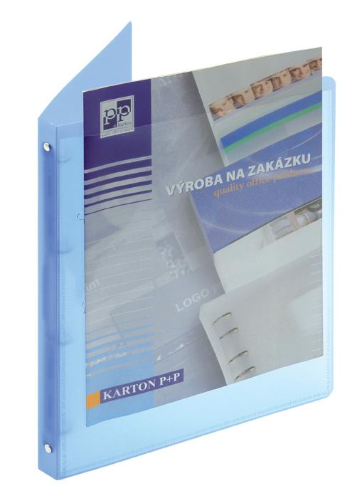 Desky A4 kroužkové Opaline s průhlednou kapsou - 4-kroužek / modrá