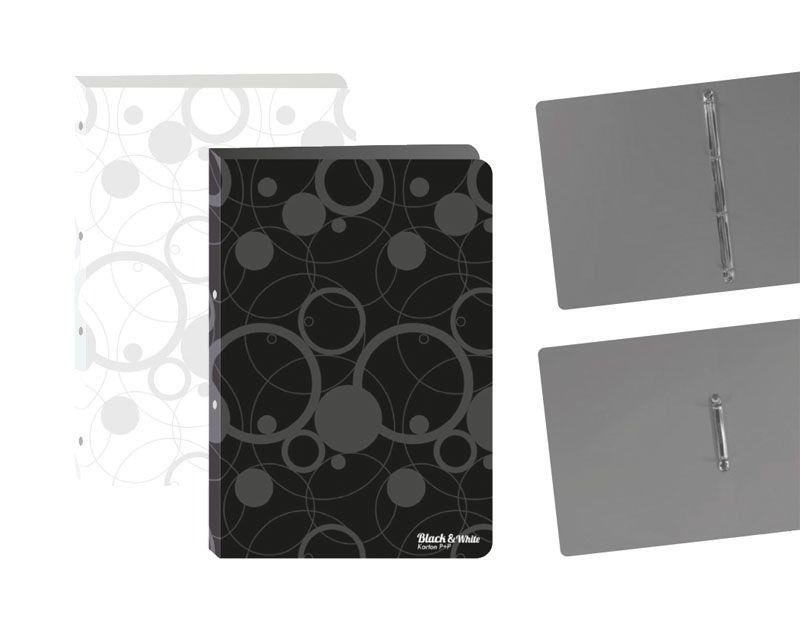 Desky A4 kroužkové Black & White - 4 - kroužek / černá
