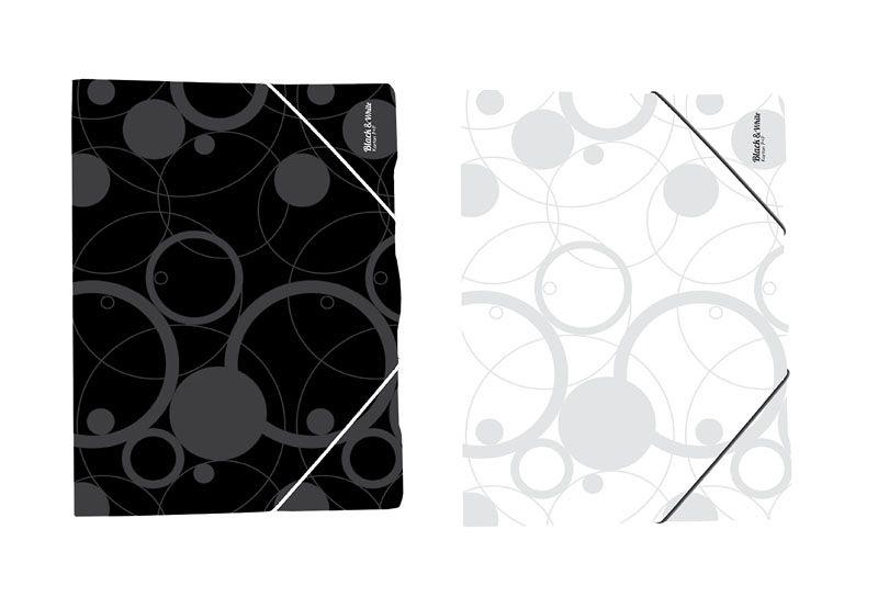 Spisové desky A4 s gumou Black&White - černá