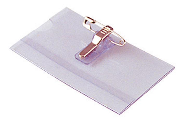 Jmenovka s klipem - 6 x 9 cm / na šířku / s klipem i špendlíkem