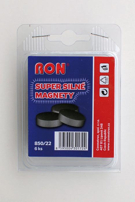 Magnety černé Conmetron super silné - průměr 22 mm / 6 ks
