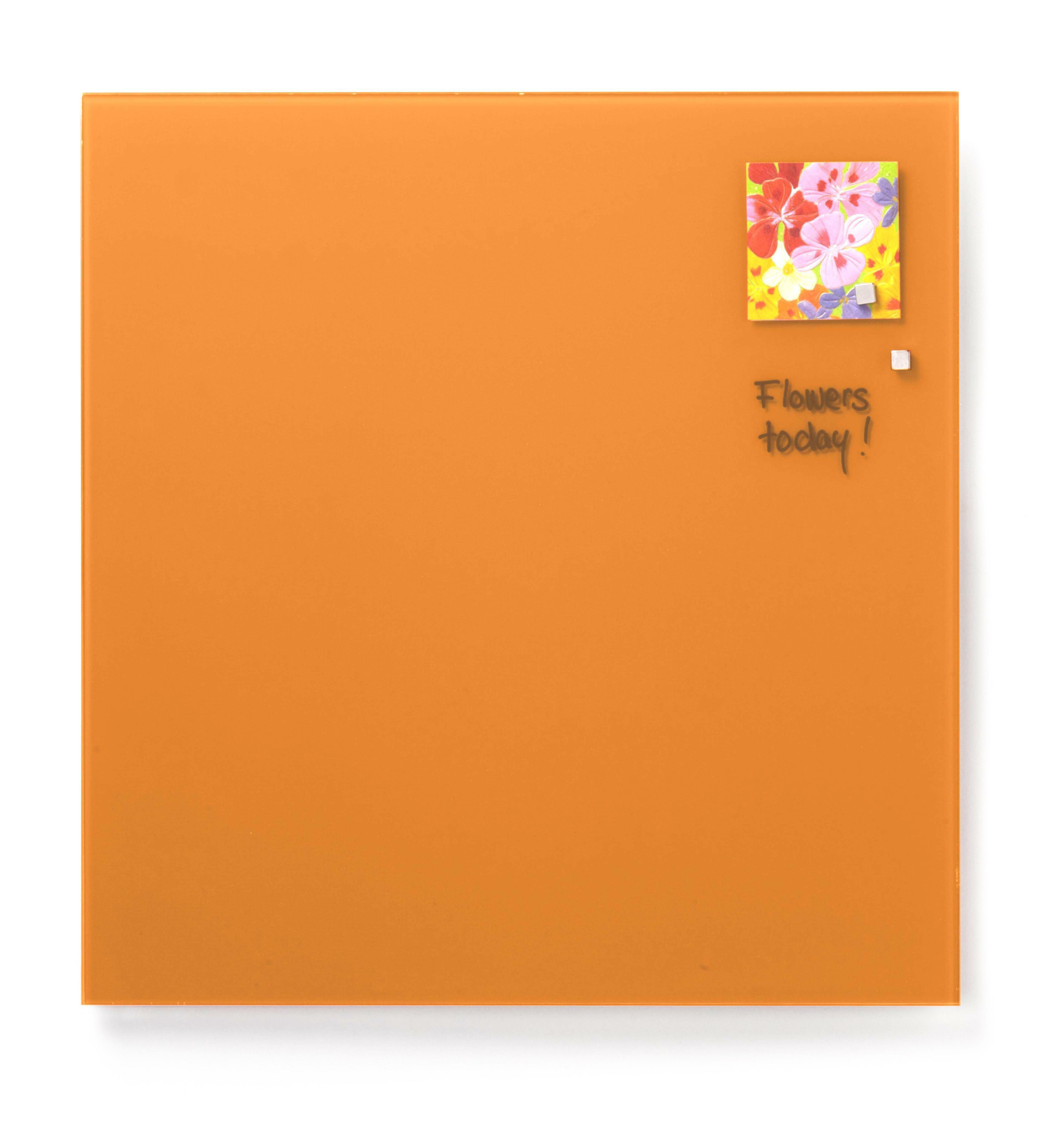Tabule magnetické skleněné - 45 x 45 cm / oranžová