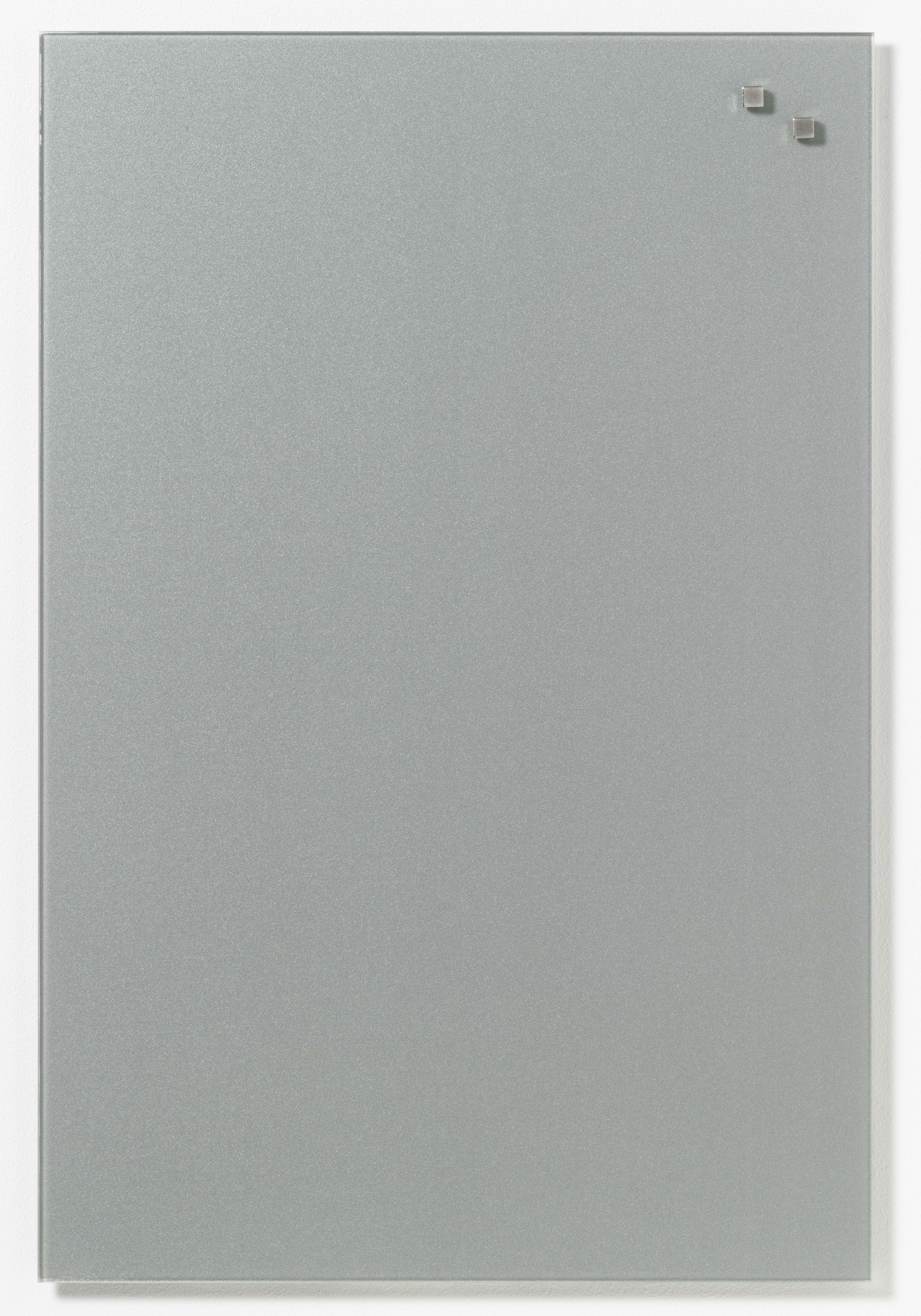 Tabule magnetické skleněné - 40 x 60 cm / stříbrná
