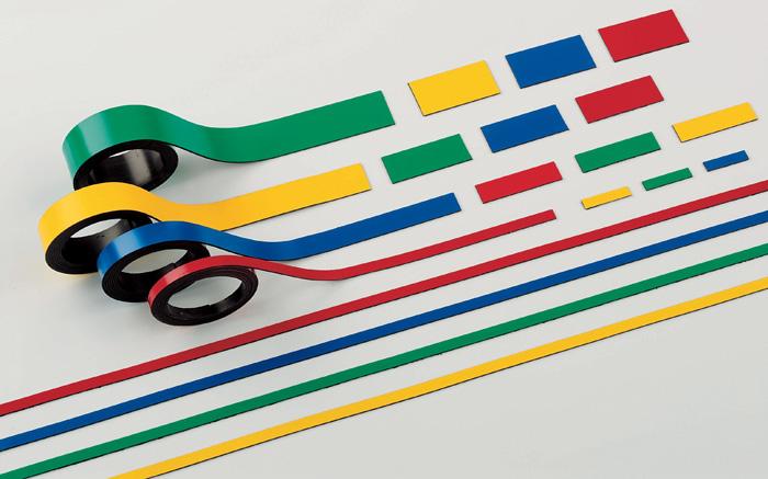 Magnetické pásky - 10 mm x 1 m / červená / 2 ks