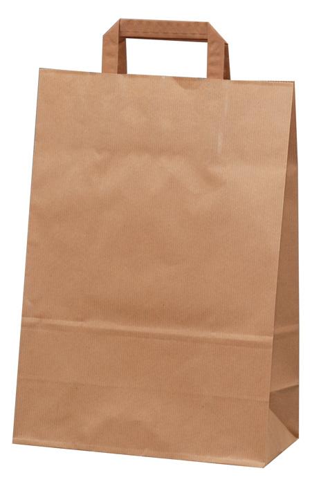 Tašky papírové plochá ucha - hnědá / 230 x 100 x 320 mm