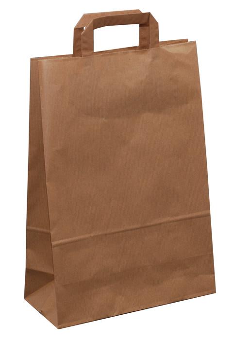 Tašky papírové plochá ucha - hnědá / 260 x 110 x 380 mm