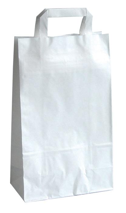 Tašky papírové plochá ucha - bílá / 230 x 100 x 320 mm