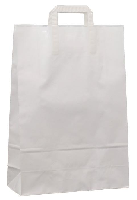 Tašky papírové plochá ucha - bílá / 260 x 110 x 380 mm