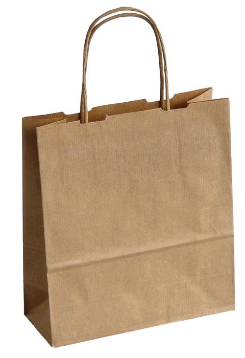 Tašky papírové kroucená ucha - hnědá / 180 x 80 x 250 mm