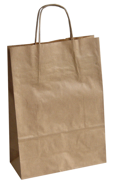 Tašky papírové kroucená ucha - hnědá / 230 x 100 x 320 mm